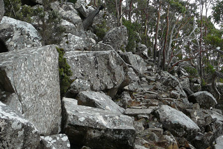 A slope of stone